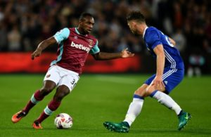 during the EFL Cup fourth round match between West Ham United and Chelsea at The London Stadium on October 26, 2016 in London, England.