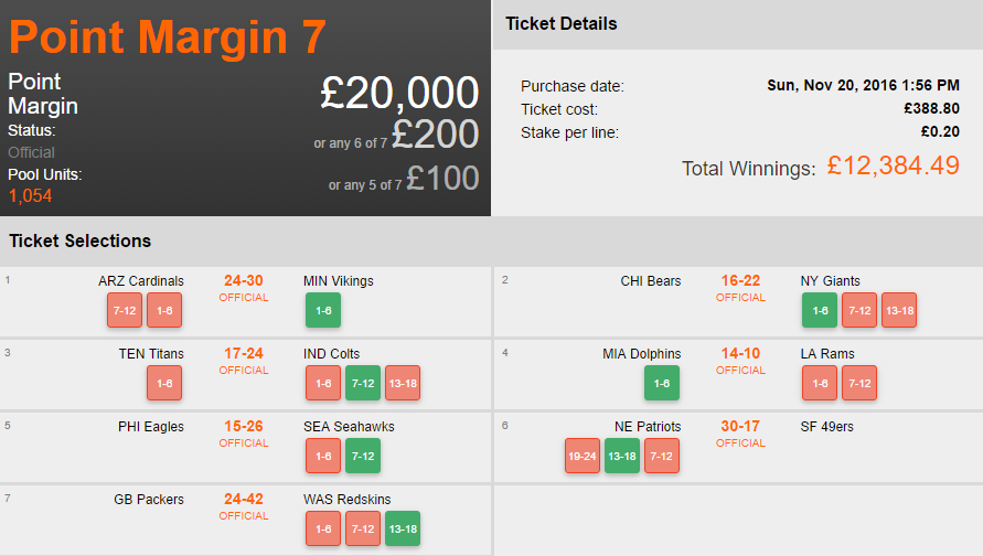 NFL Pick 7 £20k Colossus Bets Pools