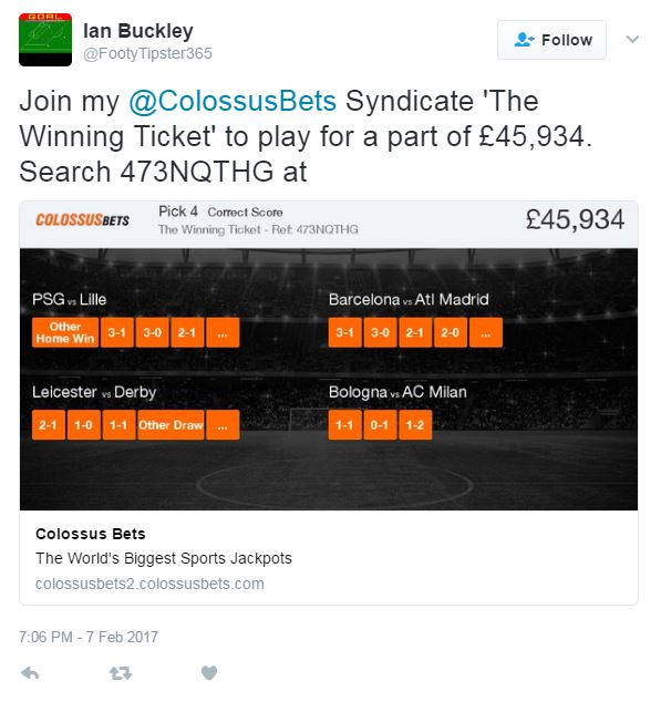 The Winning Syndicate ticket