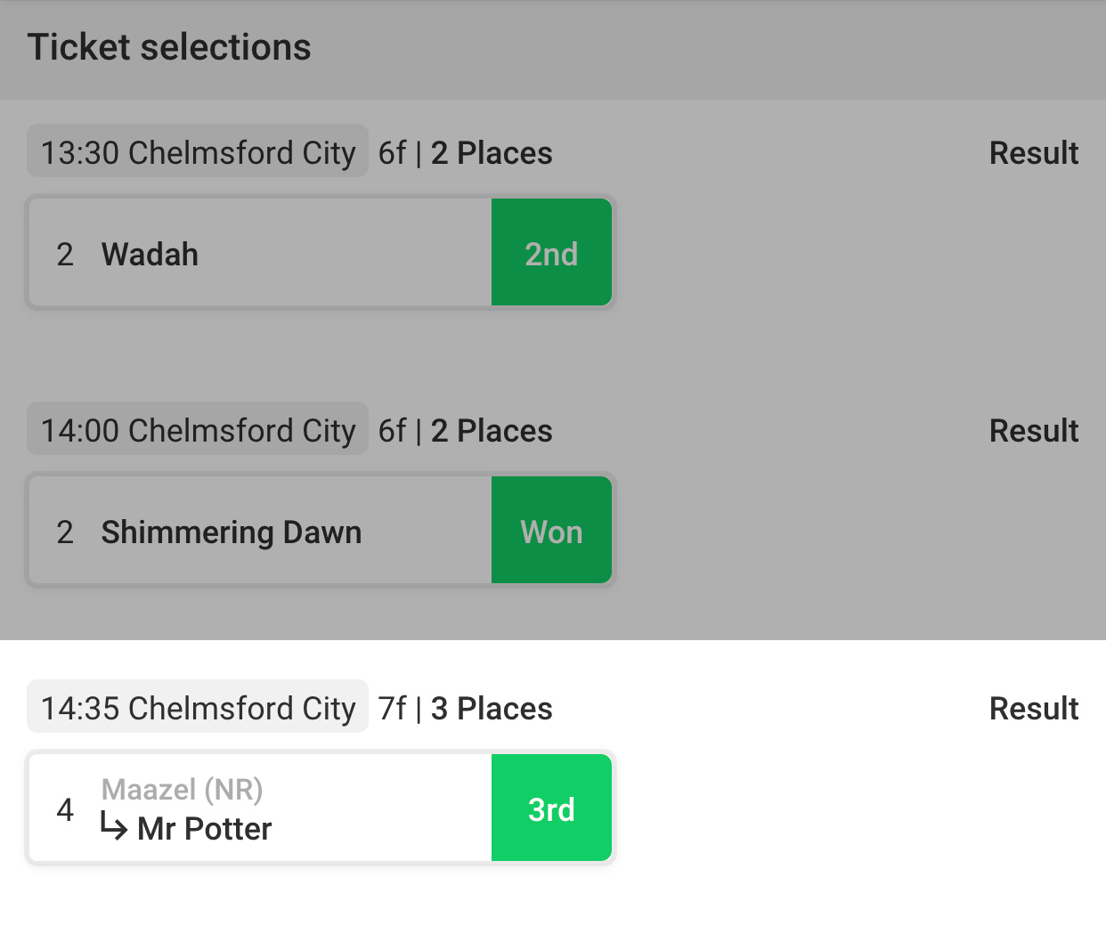 Non runner in a trixie betting soccer betting premier league